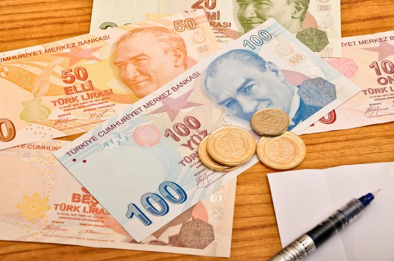 Various Turkish lira banknotes front view and coin. Various Turkish Lira banknotes printed by the Central Bank of Turkey, front view. Coin royalty free stock photography