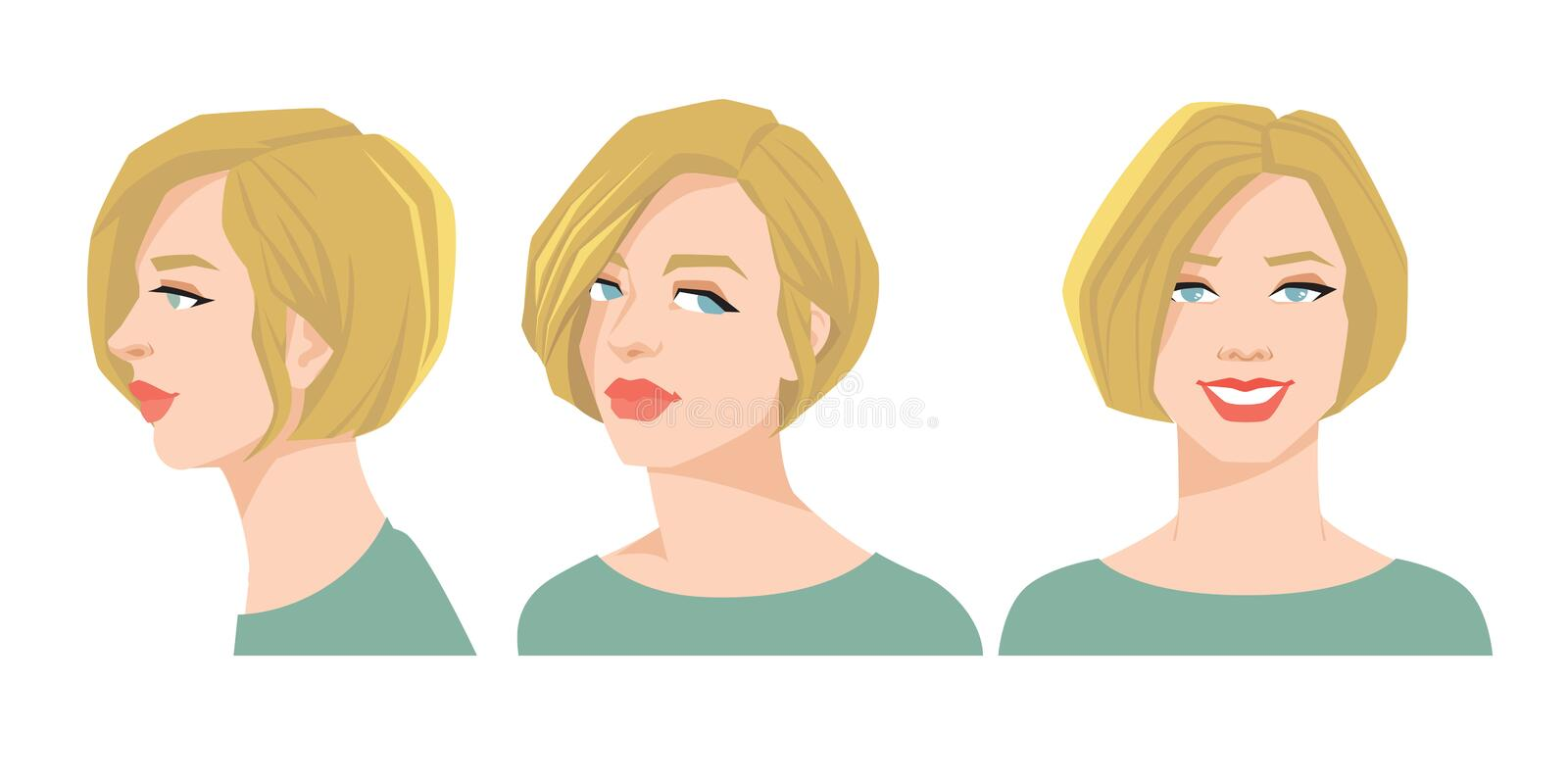 Various turns heads. Vector illustration of beautiful woman`s face on white background. Various turns heads. Face in front and profile stock illustration