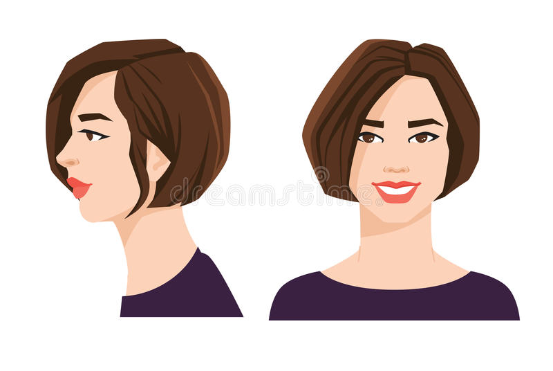 Various turns heads. Vector illustration of beautiful woman`s face on white background. Various turns heads. Face in front and profile royalty free illustration