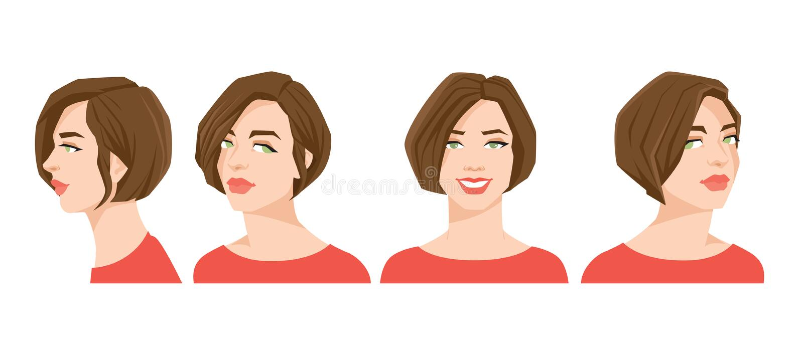 Various turns heads. Vector illustration of beautiful woman`s face on white background. Various turns heads. Face in front and profile vector illustration