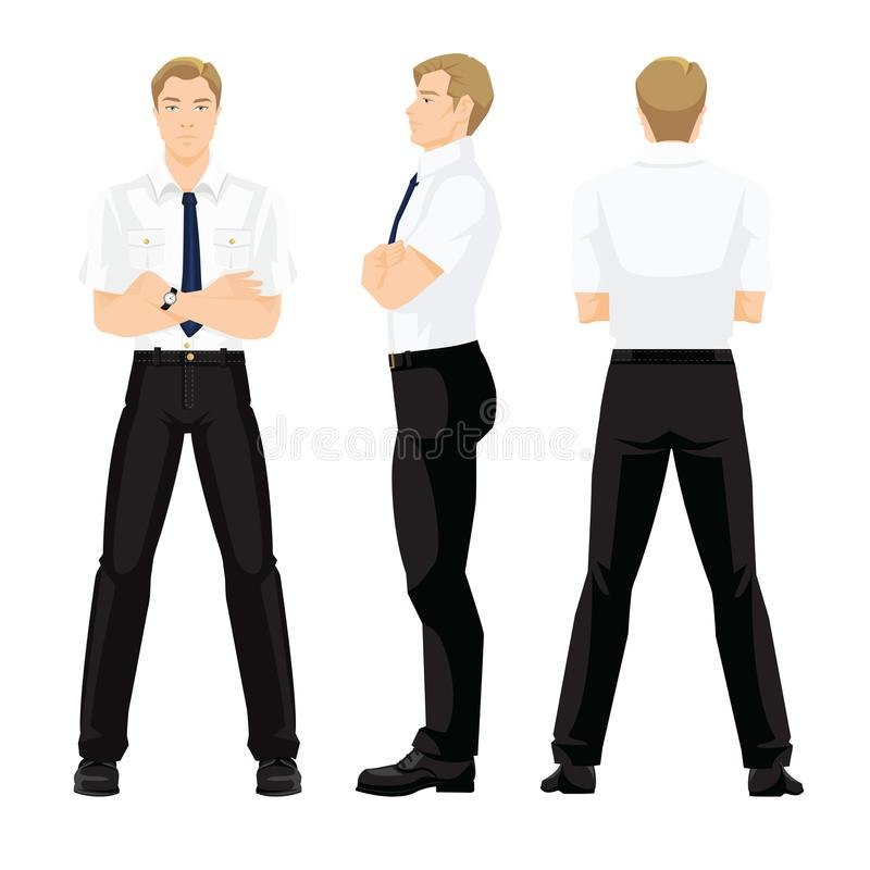 Various turns man`s figure. Vector illustration of business man in formal white shirt and black pants isolated on white background. Various turns man`s figure royalty free illustration