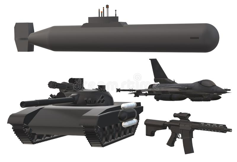 Various type of modern military hardware. A computer generated illustration image of a main battle tank, an automatic rifle, a fighter plane and a submarine vector illustration