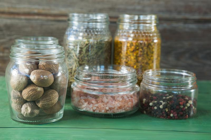 Various type spices in jar stock photography