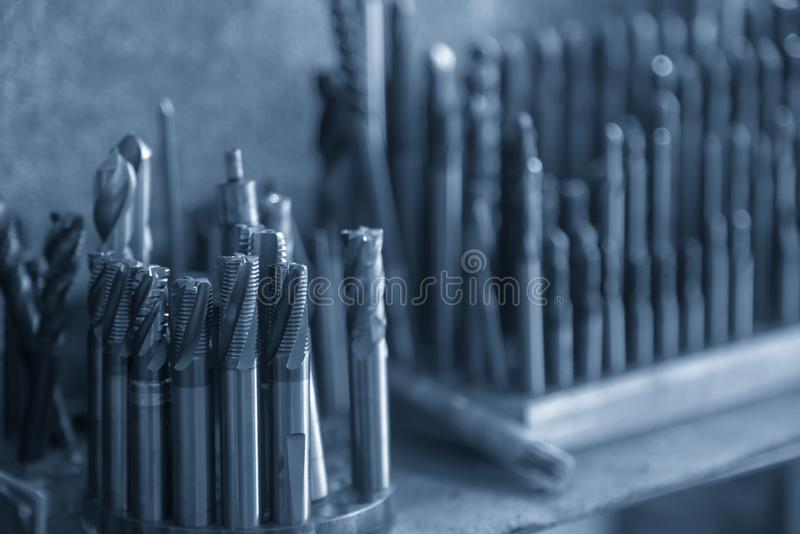 The various type of tapping tool for CNC machine. royalty free stock image