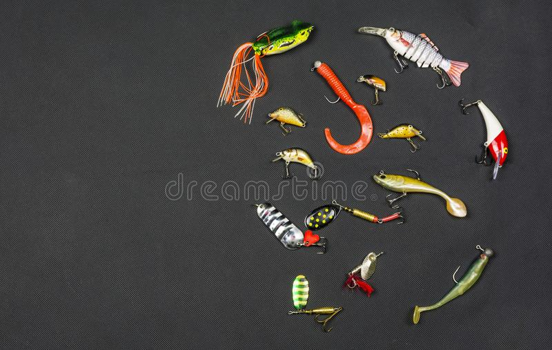Various types of artificial bait for angling for fish. royalty free stock photos