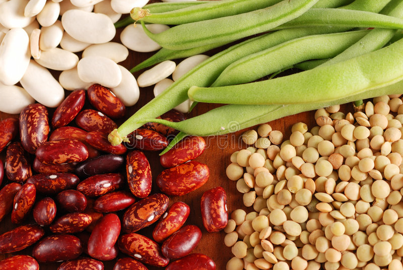 Various types of beans stock photo