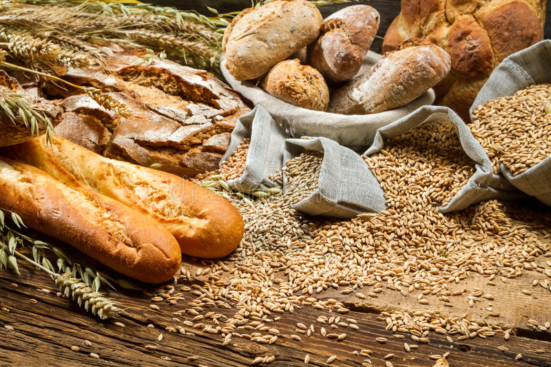 Various types of bread in a baker pantry royalty free stock images