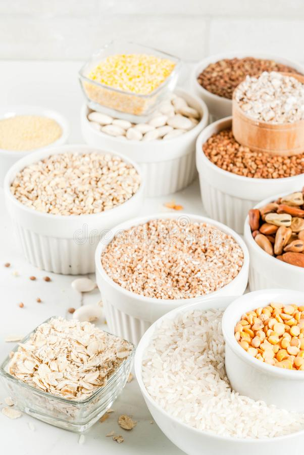 Various types cereal grains groats royalty free stock image