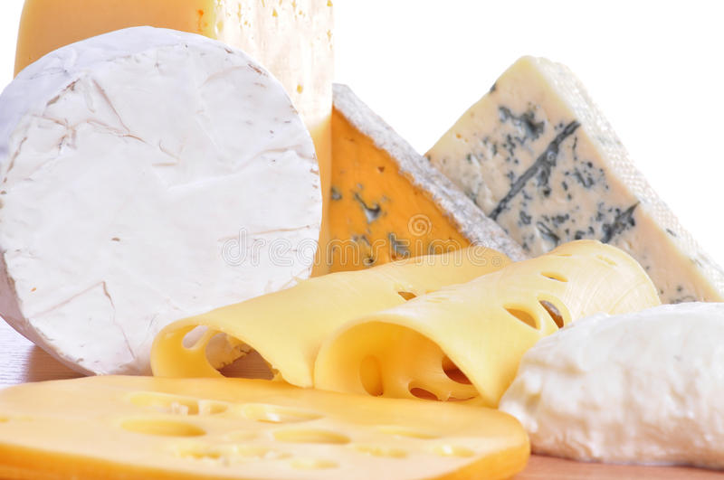 Various types of cheese composition isolated. On white background royalty free stock photos