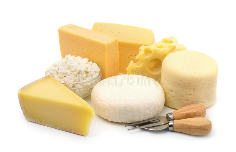 Various types of cheese. Isolated on white stock photography