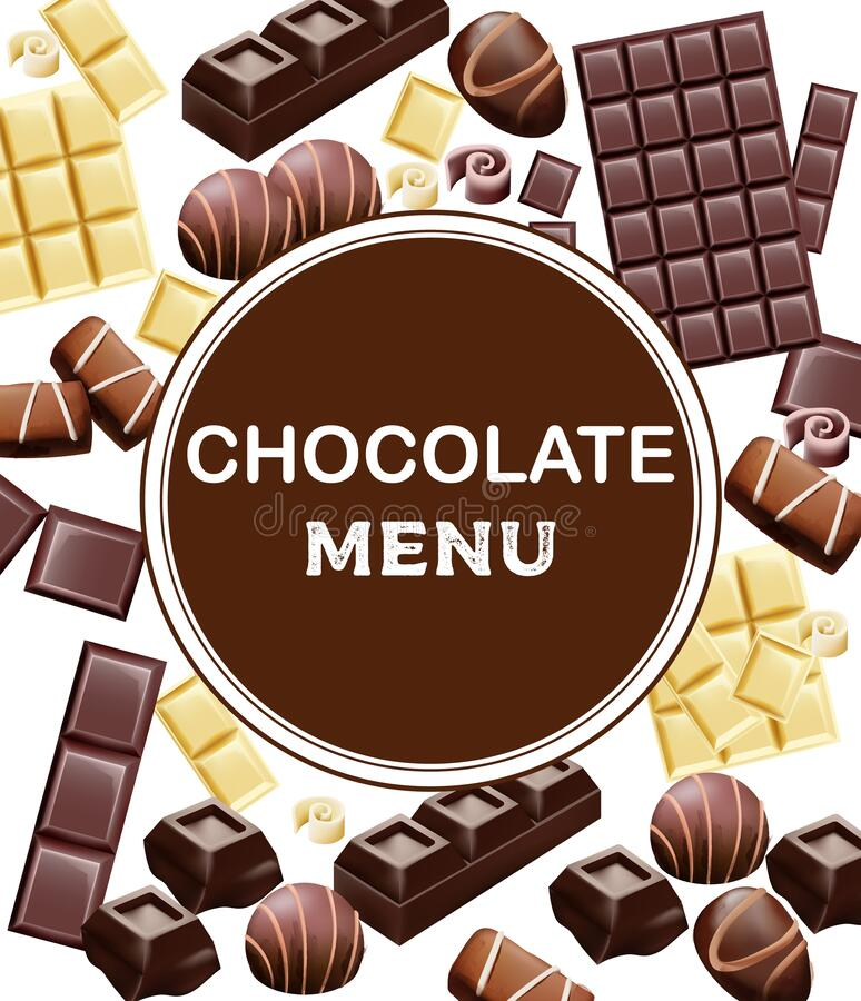Various types of chocolate and cocoa beans. Place for text. Candy, white, with cinnamon. Vector stock illustration