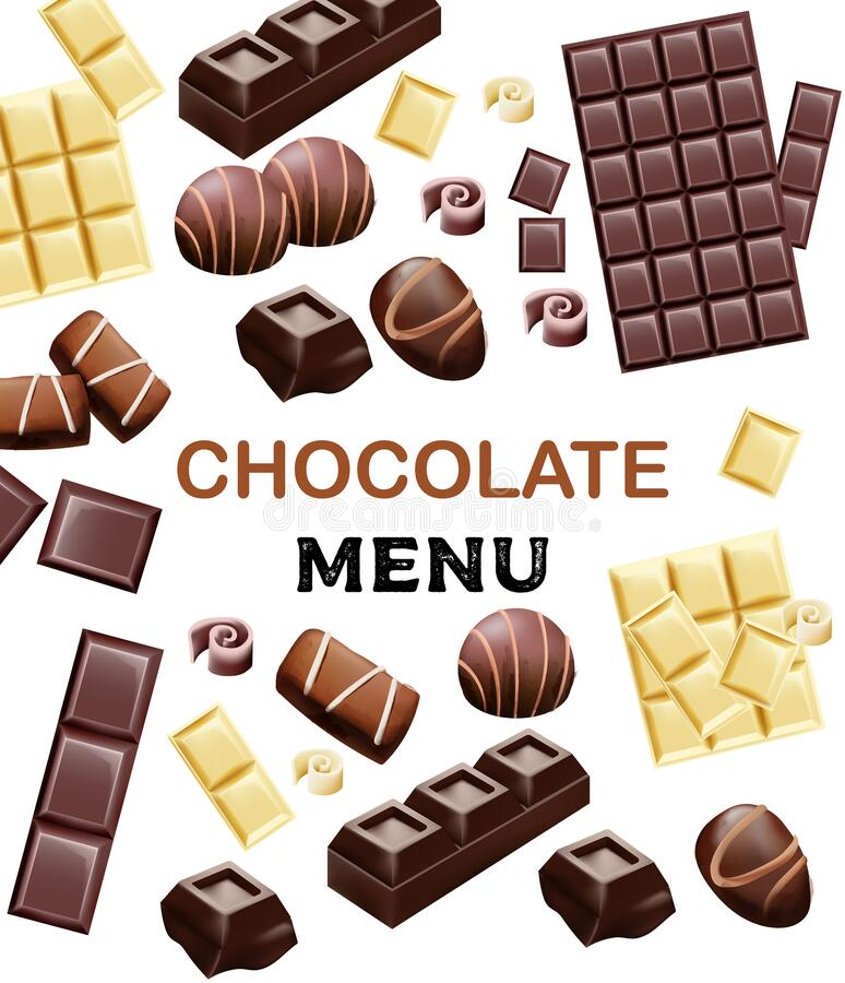 Various types of chocolate and cocoa beans. Place for text. Candy, white, with cinnamon. Vector royalty free illustration
