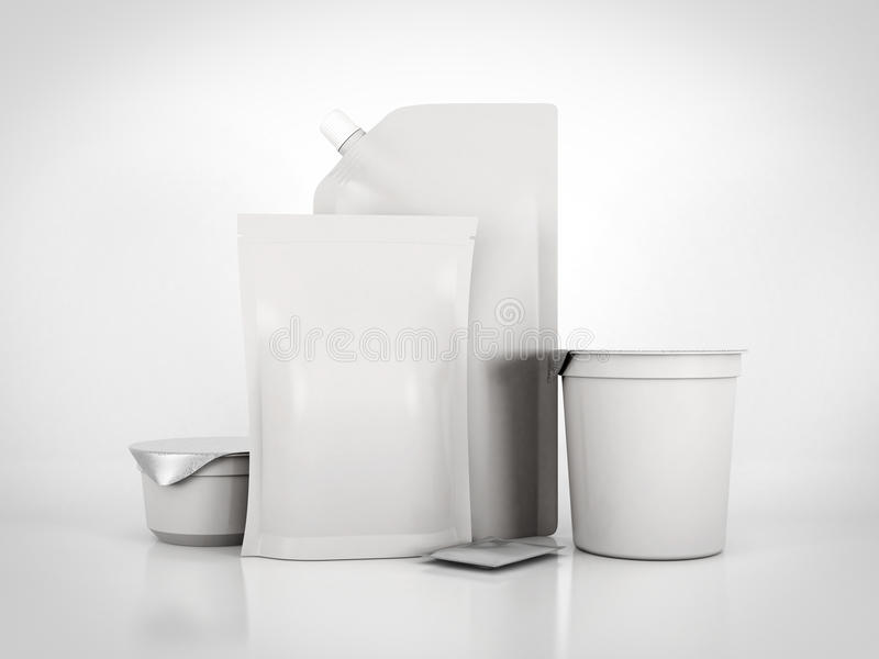 Various types for food packaging. 3d rendering royalty free illustration
