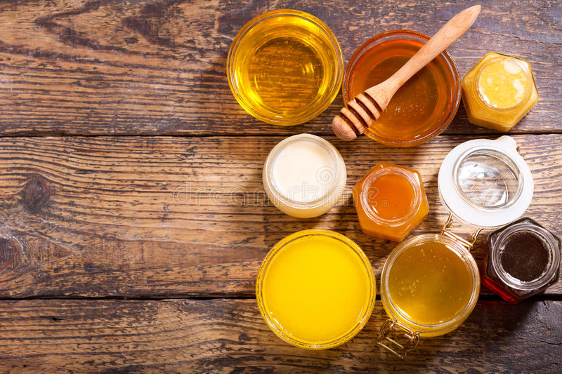 Various types of honey stock images