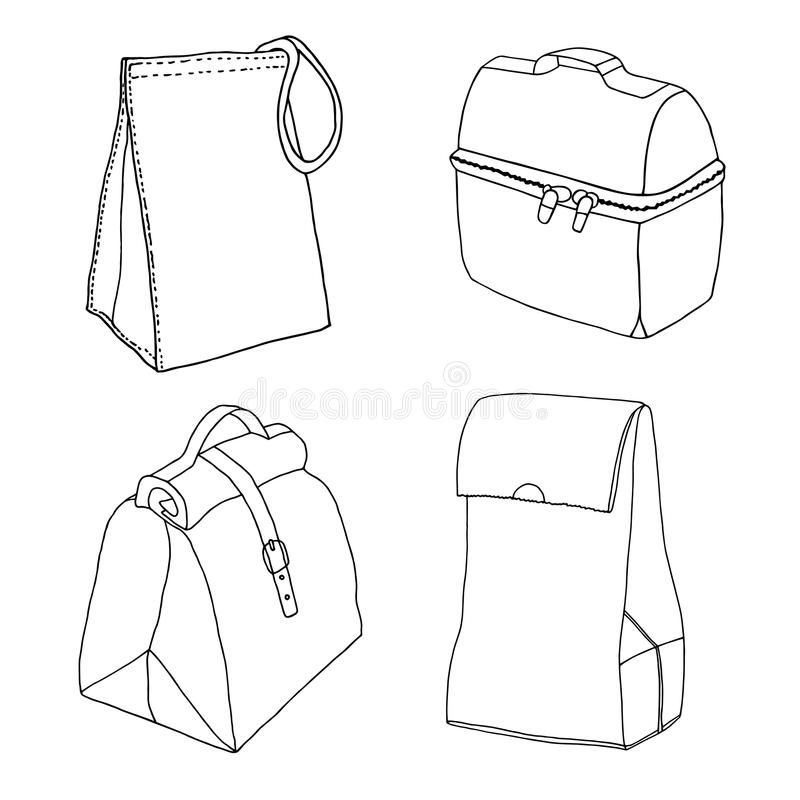 Lunch boxes with zipper, strap, locker, eco bag, paper bag. Hand drawn line art sketch royalty free illustration