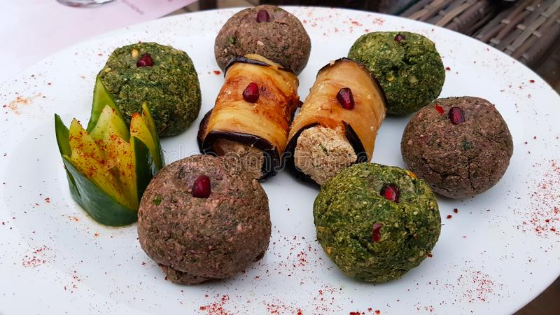 Various types of Pkhali or Mkhali a traditional Georgian dish. Of chopped and minced vegetables, made of cabbage, eggplant, spinach, beans, beets. Georgian stock image