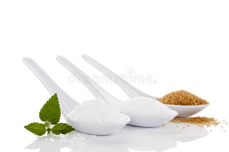 Various Types Of Sugar. stock photography