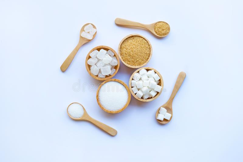 Various types of sugar. On white background stock image