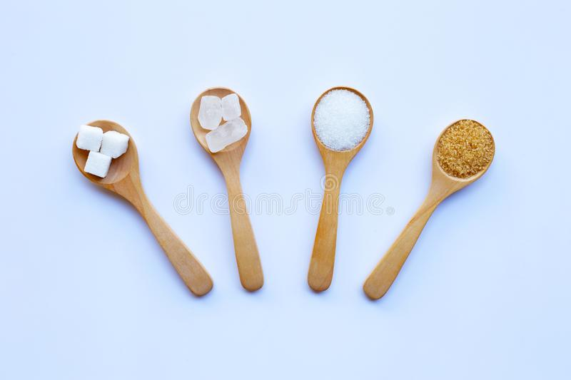 Various types of sugar. On white background stock photography