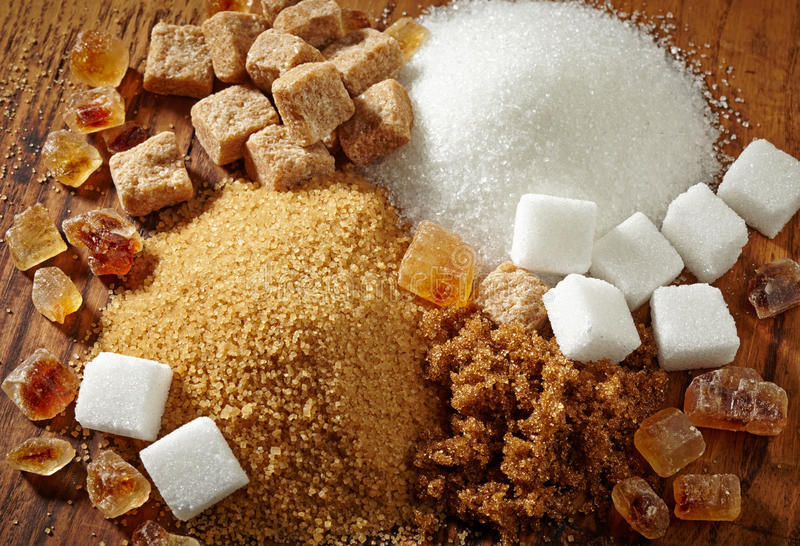 Various types of sugar stock photos