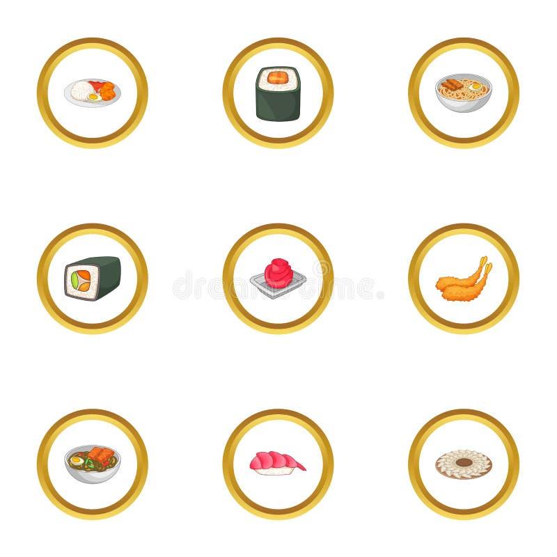 Various types of sushi icons set, cartoon style. Various types of sushi icons set. Cartoon style set of 9 various types of sushi vector icons for web design stock illustration