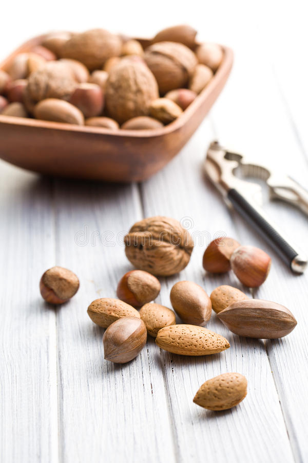 Various Unpeeled Nuts Royalty Free Stock Images