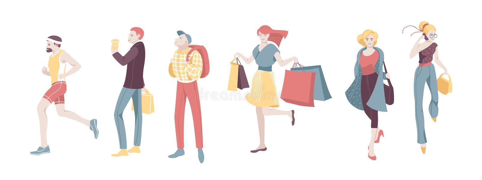 Various Urban People Character Walking Isolated Set. Guy Run, Woman Talk Smartphone and Shopping. Casual vector illustration
