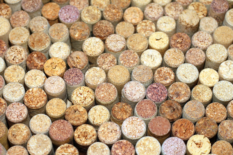 Various used wine corks / selective focus royalty free stock photo