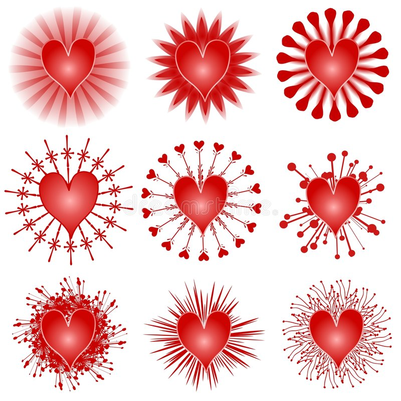 various valentine hearts clip art icons stock illustration