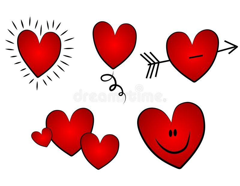 Various Valentine's Day Clip Art Hearts. A clip art illustration featuring a variety of simple Valentine's Day hearts including beating, jumping, with arrow, a stock illustration