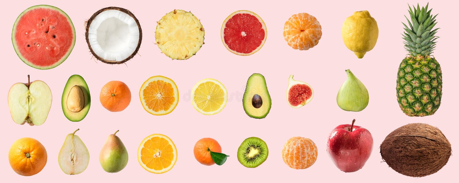 Various vegetables and fruits isolated on pink background. Food vegan concept royalty free stock photo