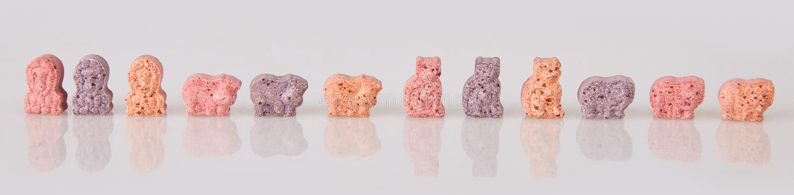 Various vitamins for kids on a white background. stock image
