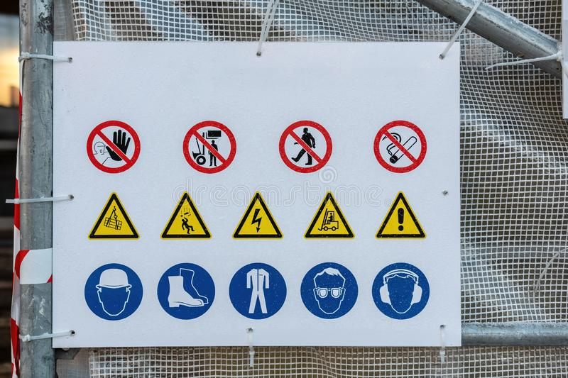 Various warning, prohibition and information signs at the construction site - image stock images
