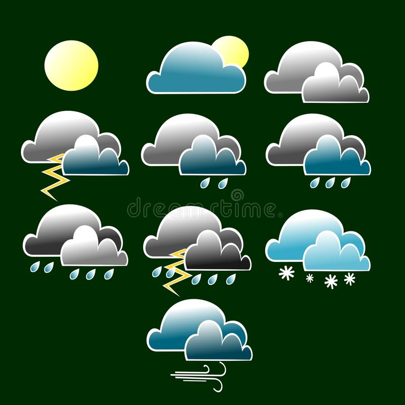 Various weather conditions icon with blue and grey cloud royalty free illustration