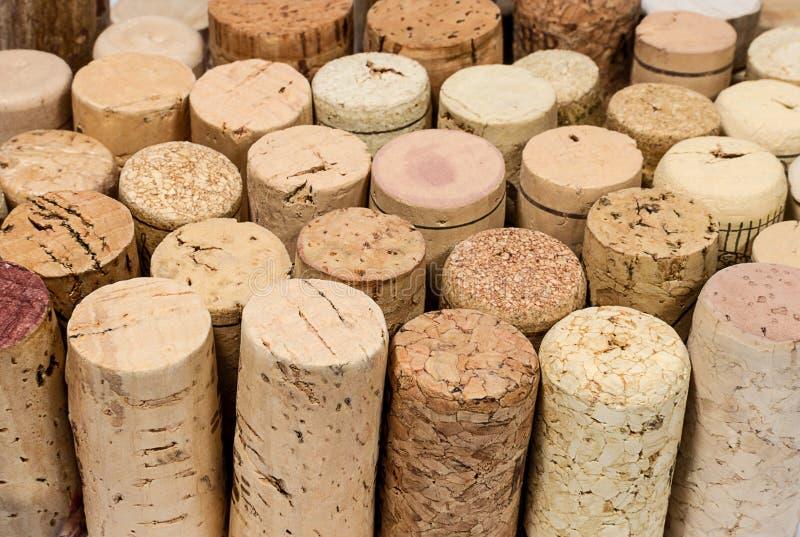 Various wine corks closeup stock photography
