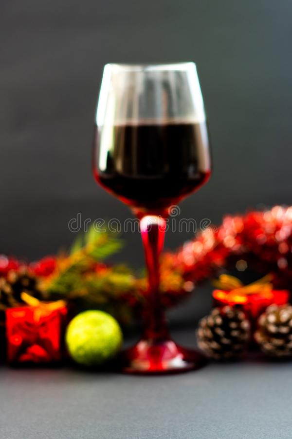 Various wine selections, glasses for Christmas stock photos