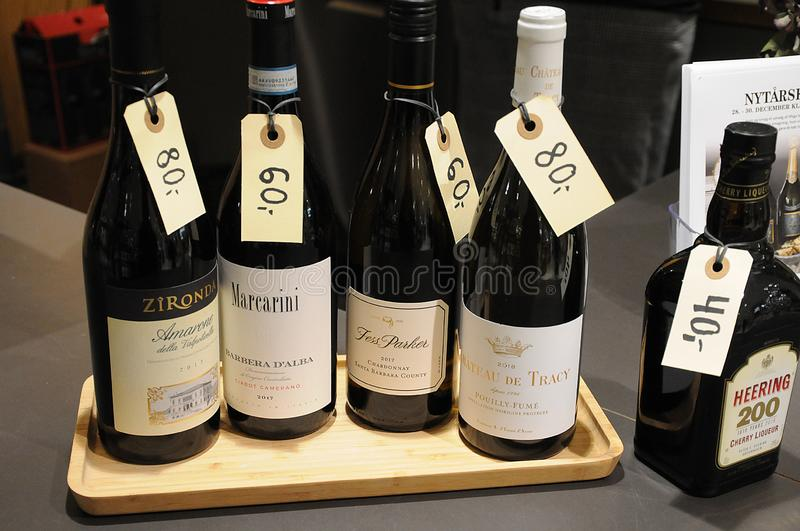 VARIOUS WINE SHOWCASE WITH PRICE TAGS IN WINE BAR. Copenhagen /Denmark/ 27.December 2019/  Various wines showcase with price tags for new years celebrations  on royalty free stock photography
