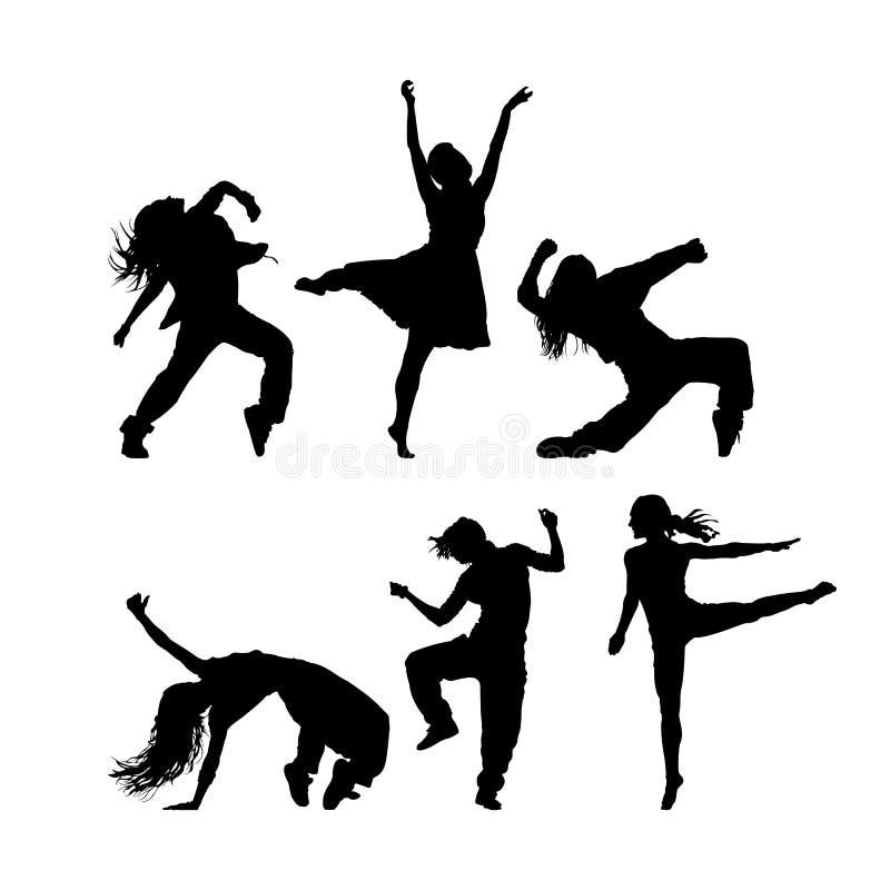 Various women dance style vector silhouttee. Silhoutte image of various dancing women style vector illustrator. EPS8 EPS10 royalty free illustration