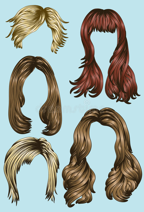 Various Women's Hair styles stock illustration