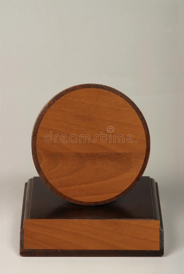 Various wood and metal plates for championships, competitions, souvenirs and special occasions. Reward in specially crafted box royalty free stock photos