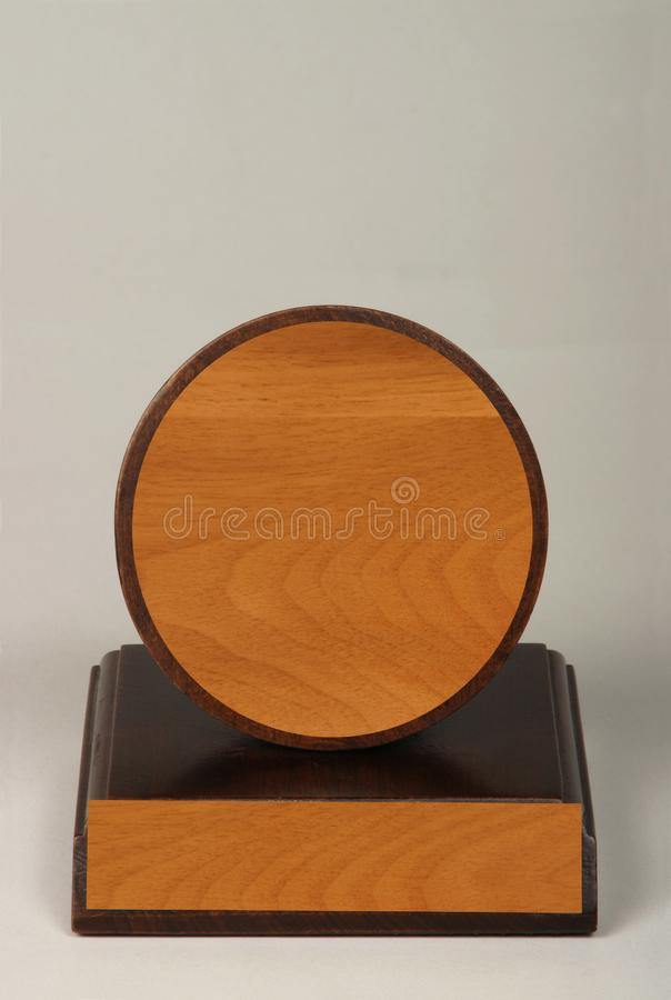 Various wood and metal plates for championships, competitions, souvenirs and special occasions. Reward in specially crafted box stock image