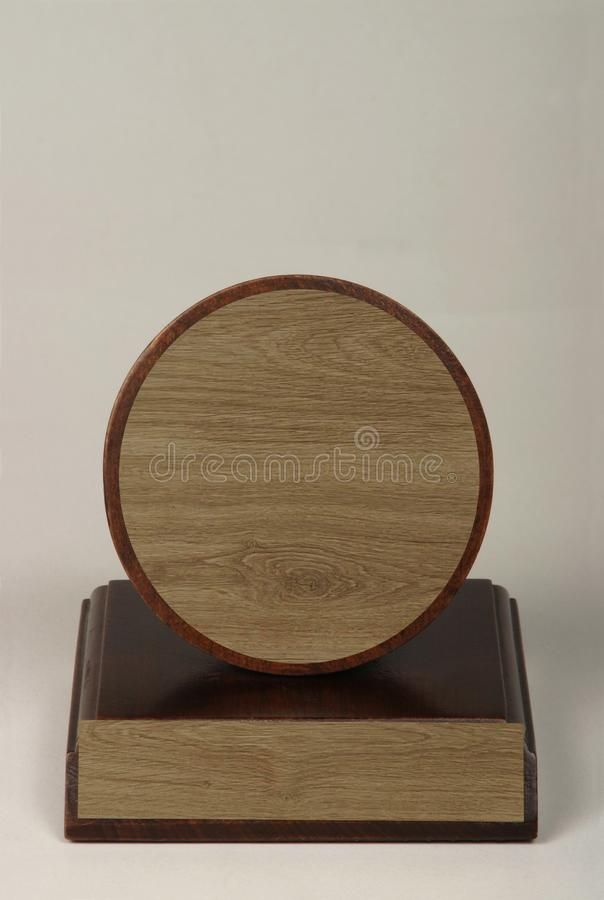 Various wood and metal plates for championships, competitions, souvenirs and special occasions. Reward in specially crafted box royalty free stock photo