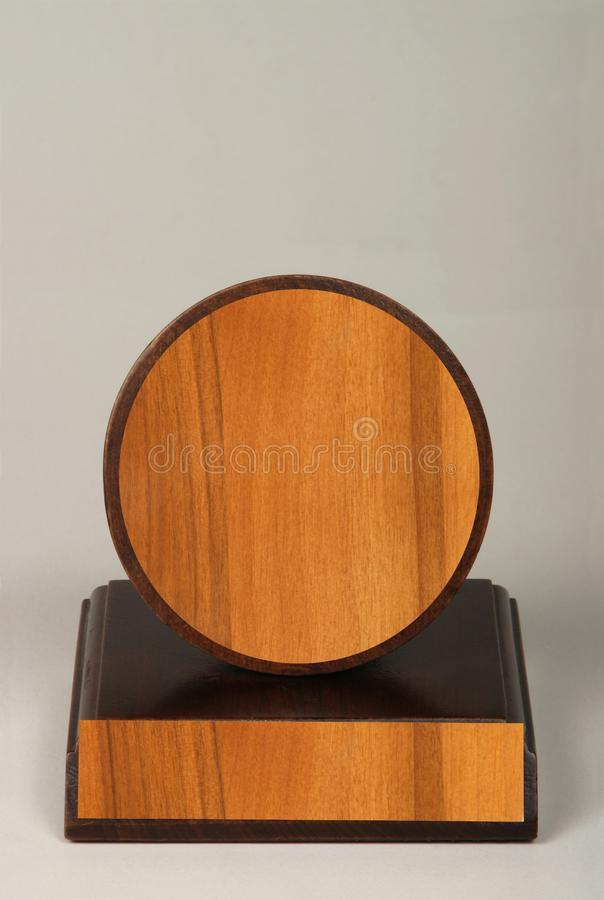 Various wood and metal plates for championships, competitions, souvenirs and special occasions. Reward in specially crafted box royalty free stock photography