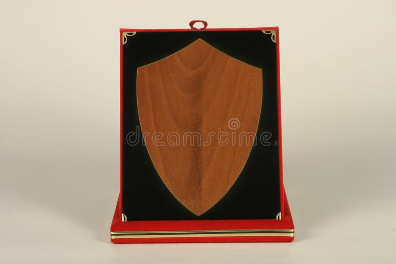 Various wood and metal plates for championships, competitions, souvenirs and special occasions. Reward in specially crafted box royalty free stock image