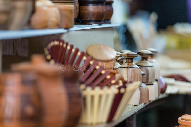 Various wooden products in the souvenir shop window. Various wooden products in the souvenir shop window royalty free stock image