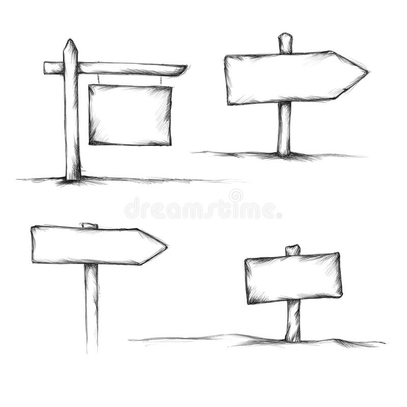 Various wooden signs and signposts. Illustration of Various wooden signs and signposts vector illustration