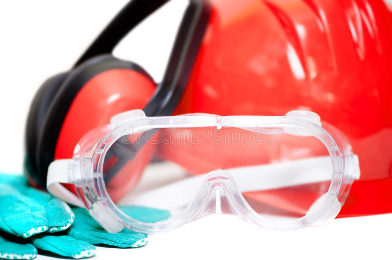 Various working equipment and safety construction gear. helmet, royalty free stock photos