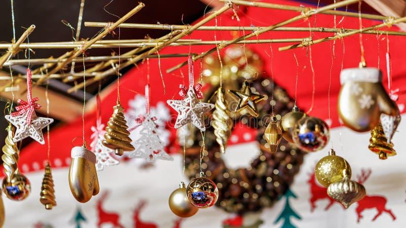 Various Xmas decorations as gift souvenirs at Vilnius Christmas Market. Various Xmas tree decorations as gift souvenirs at one of the many stalls at the stock images