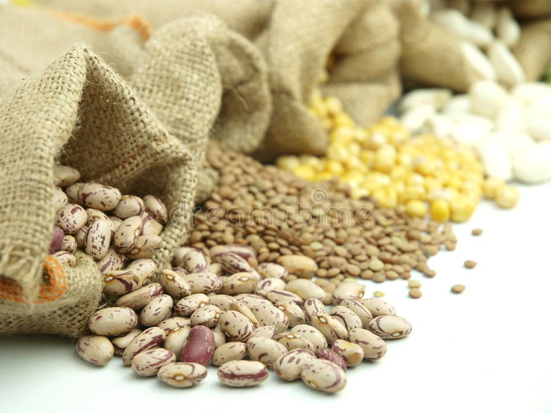 Varius legumes. Burlap sacks with a misc legumes stock photo