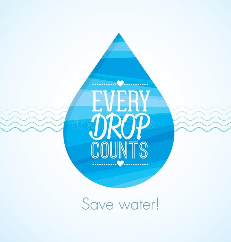 Varje droppe räknar för räddningvatten för ecoen den idérika illustrationen för den vänliga rengöringen stock illustrationer
